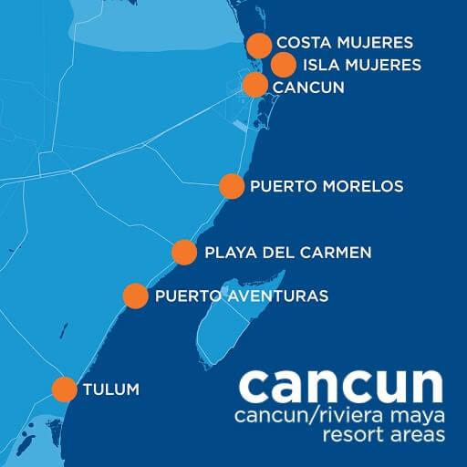 Cancun Rivera Maya map